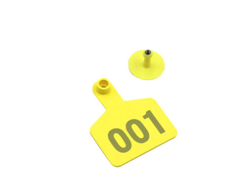 Yellow Number001 Cattle Tags