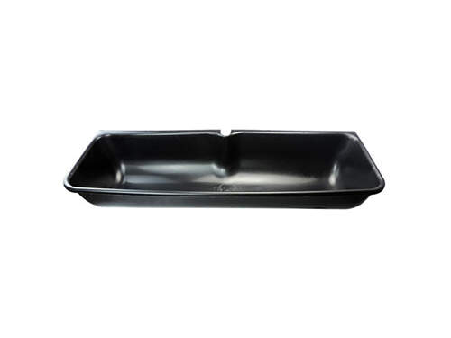 Black plastic sheep trough
